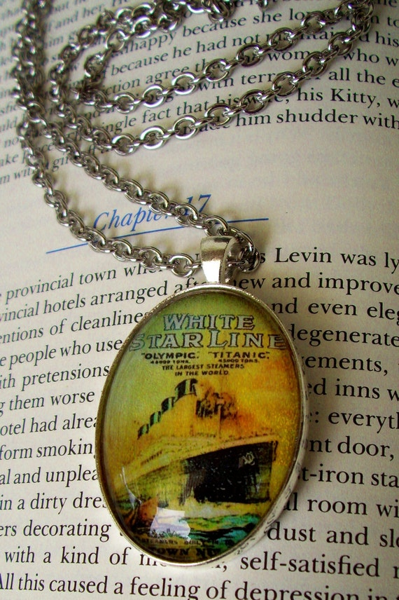 TITANIC Tribute Necklace (N111) - Titanic Tribute Pendant - Vintage Poster Artwork Under Glass Cabchon - Brass Chain
