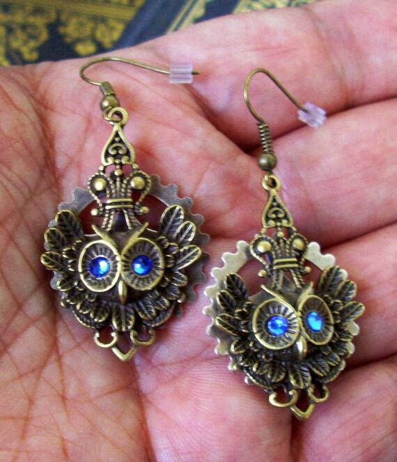 Owl Pendant Earrings (E52-2) - Antiqued Brass Owl Pendants - Brass Gear and Blue Swarovski Crystals
