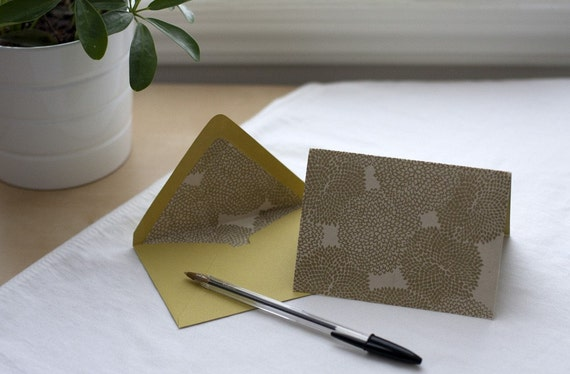 Notecard Set - chartreuse and gold mums