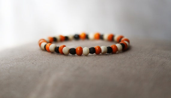tricolor bracelet for men - mens triple colored bracelet  - antique bone, ebony and orange wooden bead bracelet - orange, white, brown