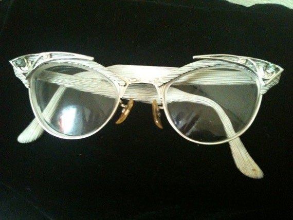 1950's Vintage Black & White Faux Bois (Faux Wood) Cat-Eye Glasses by American Optical