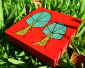 small art block -  red and teal trees on wood