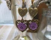 Purple Earrings flowers with hearts