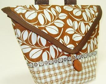 Bike Handlebar Bag in a Soft Blue and Brown Leaf Pattern