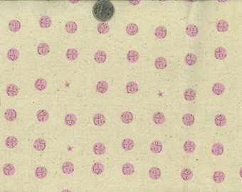 PINK/Plum Purple Moons Heather Ross Far Far Away 2   (1) Yard cotton/Linen