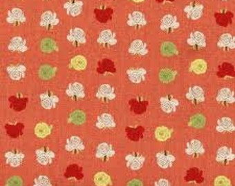 Heather Ross Far Far Away 2 Fabric Coral/Pink Flowers 1 yard