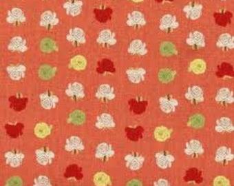 Heather Ross Far Far Away 2 Fabric Coral/Pink Flowers 1 yard