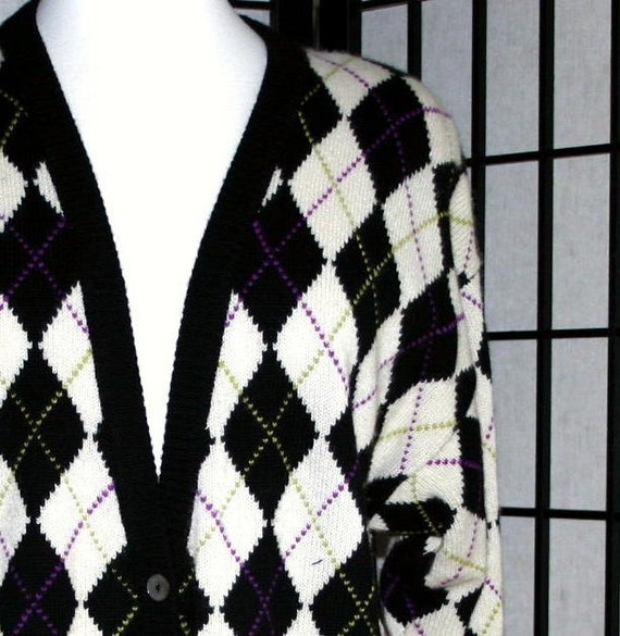 Vintage argyle cashmere cardigan 1980s black and white by Belford large size