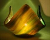 Fused Glass Green Forest Votive Holder
