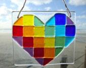 Rainbow Diagonal Stripe Fused Glass Heart Ornament
