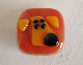 Yellow Big Nose Dog Fused Glass Magnet