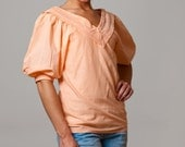 SUMMER SALE- Vintage 80s Peach V-neck Puffly Sleeve Blouse