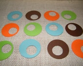 """Gift Tags -50  Modern Retro Circle within a Circle Die Cut 2"""" paper punches- Scrapbooking-DIY Gift Tags-Orange Brown Green Turquoise"""