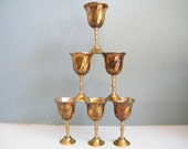 Cordial Glasses - set-  of 6  Tiny VINTAGE Goblets-Brass and Silver Plate