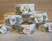 V I N T A G E (Set of 6) White Porcelain Napkin Rings with Pastel Floral and Ribbon Motif- Wedding Gift- Hostess Gift