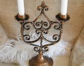 Ornate Vintage Solid Copper 2- Arm Candelabra-Scroll Pattern