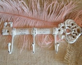 SALE Skeleton Key Wall Hook  Key Holder, White, Key Rack, Jewelry Display, Housewarming Hostess Gift, Shabby Cast Iron