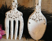 Wall Art- White Fork and Spoon Oversize - cast Iron - Distressed - Kitchen Restaurant Decor - Utensils Decoration