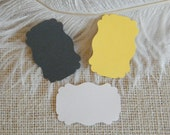 Gift tags / Escort Cards- Grey Yellow and White -150 Blank DIY Gift Tags-Wedding Wish Tree Tags-Favor Tags