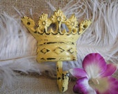 Wall Hook - Yellow Distressed and Sophisticated Chic Cast Iron Princess Crown Wall Hook-Distressed