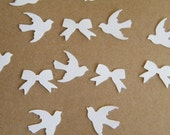 Wedding Confetti - Lot of 150- Winter White and Ivory Confetti -Dove Love Bird and Bows -Embellishments-Table Decoration