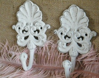 Wall Hook-Organize-White Distressed Scroll and Sea Shell Cast Iron Wall Hook-Cottage Elegance- Chic-Distressed - Set of two