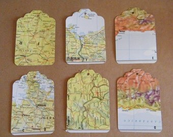 Gift Tags, Recycled World and Street Atlas Tags, 100 Large, Travel Theme, Destination Wedding Favor tags, DIY Gift Tags, Die Cut, Maps Tags