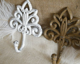 CLEARANCE Wall Hook, Tan / Brown or White Rustic, Towel Rack , Coat Holder, Cast Iron Wall Hook, Vintage Inspired Home Decor