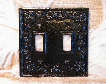 Light Switch Plate - Double Switch Plate Cover - Black - Cast Iron Metal - Paris Apartment Chic - Fleur de Lis - Metal Plate Cover