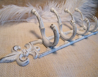 Wall Hook-White Coat Rack-Distressed Rustic Shabby-Organizer-Fleur De Lis -Cast Iron-Paris Apartment Chic-French Country