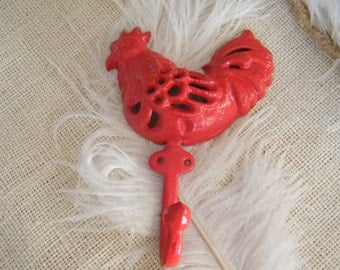 Farmhouse Decor Wall Hook - Red Rooster - Country Kitchen Decor - Key Holder - Jewelry Holder - Cast Iron - Barnyard Animal