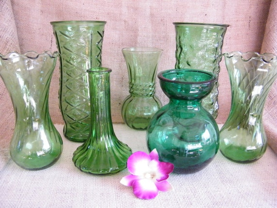 Set of 7 Vintage GREEN glass bud vases-Wedding Reception-Special Event-Instant Collection-Garden Theme Party- Vases