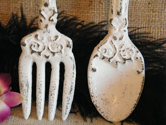 Wall Art- White Fork and Spoon Oversize - cast Iron - Distressed - Kitchen Restaurant Decor - Utensils Decoration