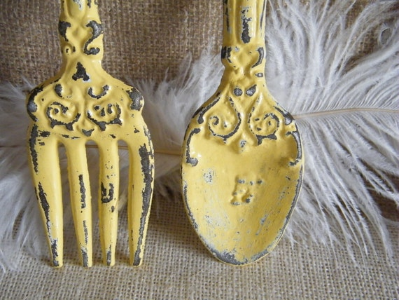 Wall Art- Yellow Fork and Spoon Oversize - Rustic Cottage cast Iron - Shabby Distressed - Kitchen Restaurant Decor