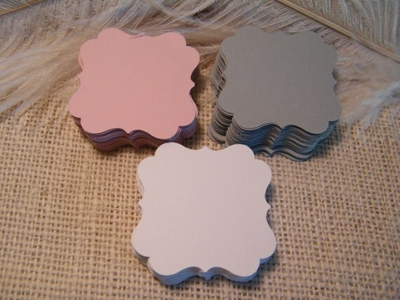 Gift Tags Pink White and Gray / Decorative Square / Escort Cards /  100 Blank Cardstock  DIY Gift Tags-Wedding Wish Tree Cards-Die Cut