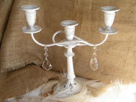 White Elegant and Shabby Candelabra With Chandelier Crystals-Unique Unity Candle -3 Arm Candelabra - Classic - Table Decoration