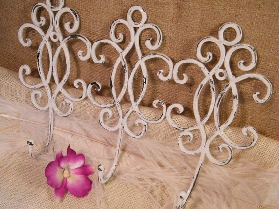 Scroll Wall Hook- Distressed White -Light Weight Metal- Cottage Shabby Decor - 3 in 1 Hook - Key Holder