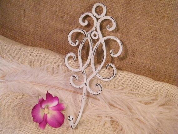 Scroll Wall Hook- Distressed White -Light Weight Metal- Cottage Shabby Decor -  Key Holder -Under 10 dollars