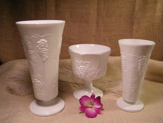 Set of 3 VINTAGE  Indiana Harvest White Milk Glass Vases Compote Planter Vases - Vintage Wedding Decoration Centerpieces