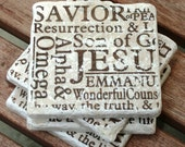 "Tumbled Travertine Tile Coasters ""JESUS"" Brown (set of 4)"