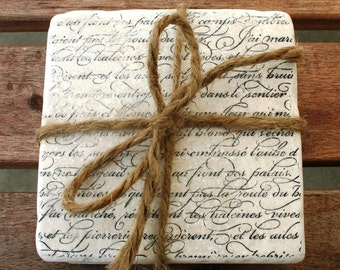 "Tumbled Travertine Tile Coasters ""FRENCH SCRIPT"" (set of 4)"