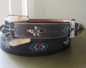 Black Leather Hand Painted Belt