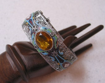 Extraordinary Vintage Rhodium Filigree Enamel Art Deco Bracelet