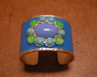 Large Vintage turquoise Enameled Cuff Bracelet