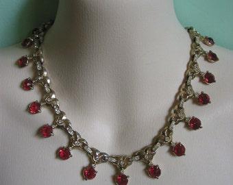 Vintage ART DECO regal necklace ruby colored stones & clear rhinestones