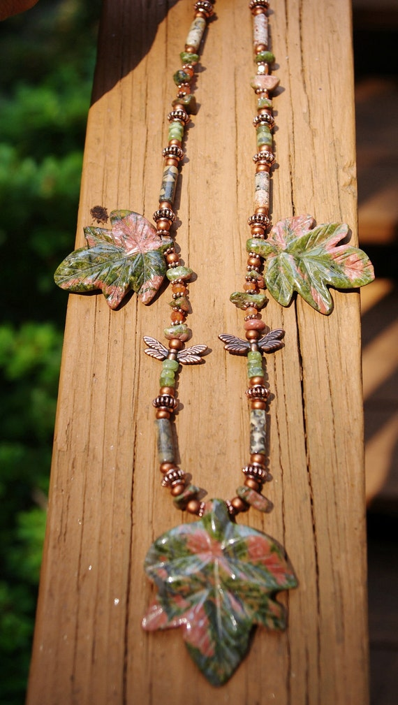 Ukanite Carved Leaf Necklace with Coppery Dragonfly and Bead Accents