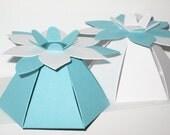 30 Aqua Blue Flower Favor Boxes