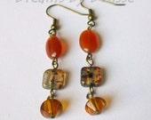 Earrings Carnelian - Earrings Fall Colors - Earrings Orange and Brown