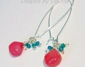 Bright Earrings - Hot Pink Chalcedony Earrings With Aqua Swarovski Crystals