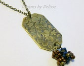 RESERVED Brass Necklace with Etched Flower design and Czech Glass Beads